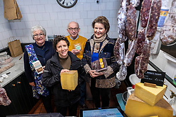 Pictured: Jill Clark (Conmage Highland Dairy, Tain), Mairi Gougeon, Callum Clark (Conmage Highland Dairy, Tain) and  Jane Stewart (Chair of Fine Cheesemakers Scotland, <br /> <br /> Rural Affairs Minister Mairi Gougeon, MSP,  announced funding to promote locally sourced food and drink on a visit to an Edinburgh cheesemonger today.<br /> <br /> A total of 21 projects will share £95,550 from the Connect Local Regional Food Fund.<br /> <br /> Ms Gougeon met producers from Fine Cheesemakers of Scotland at I.J. Mellis Cheesemonger in Edinburgh. The group has been awarded funding to develop marketing materials and promote cheese as a pairing to whisky.<br /> <br /> Ger Harley   EEm 20 February 2020