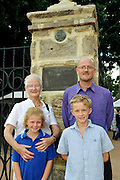 Rachel Blythe, the great great grand-daughter of Sir James Stirling, with her son and her grand-children, standing besides the newly restored Stirling Memorial Gates