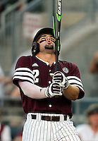 Texas A&M's Ryne Birk (2) takes a deep breath before stepping into the batters box against TCU during a NCAA college baseball Super Regional tournament game against, Saturday, June 11, 2016, in College Station, Texas. Texas A&M won 7-1 to even the series at 1-1. (AP Photo/Sam Craft)