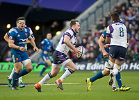 EDINBURGH, SCOTLAND - FEBRUARY 11: Scotland full back, Stuart Hogg, finds a gap in the French defence during the NatWest Six Nations match between Scotland and France at Murrayfield on February 11, 2018 in Edinburgh, Scotland. (Photo by MB Media/Getty Images)