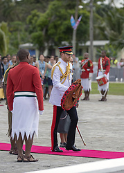 AU_1379109 - SUVA, FIJI  - The Duke lays a wreath at the Fiji War Memorial, and meet a number of Fijian war veterans, some of whom served with the British Armed Forces. Links between the British Military and Fiji continue to this day with more than 1250 Fijians currently serving in the British Army.<br />