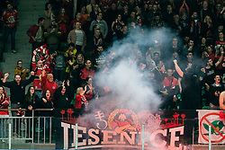 Fans of Jesenice during 500th derbi between HK SZ Olimpija Ljubljana vs HDD SIJ Acroni Jesenice  - AHL 2019/20, on the 26th of  Oktober, Ljubljana, Slovenia. Photo by Matic Ritonja / Sportida