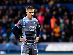 Gareth Anscombe of Cardiff Blues<br /> <br /> Photographer Simon King/Replay Images<br /> <br /> European Rugby Champions Cup Round 4 - Cardiff Blues v Saracens - Saturday 15th December 2018 - Cardiff Arms Park - Cardiff<br /> <br /> World Copyright © Replay Images . All rights reserved. info@replayimages.co.uk - http://replayimages.co.uk