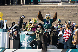February 8, 2018 - Philadelphia, Pennsylvania, U.S - Philadelphia Eagles offensive lineman, JASON KELCE, addresses the fans on the steps of the Art Museum at  the Philadelphia Eagles Super Bowl celebration in Philadelphia PA (Credit Image: © Ricky Fitchett via ZUMA Wire)