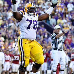 November 6, 2010; Baton Rouge, LA, USA;  LSU Tigers offensive tackle Joseph Barksdale (78) celebrates following a Stevan Ridley (not pictured) touchdown during the second half against the Alabama Crimson Tide at Tiger Stadium. LSU defeated Alabama 24-21.  Mandatory Credit: Derick E. Hingle