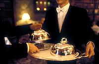 "Tuxedoed waiters with ""cloches"" - Restaurant Alain Ducasse, Paris"
