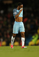 Raheem Sterling of Manchester City reacts during the English Premier League match at The Etihad Stadium, Manchester. Picture date: April 27th, 2016. Photo credit should read: Lynne Cameron/Sportimage