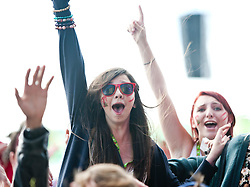 Fans of The Big Pink wathch them perform on the main stage, Friday at T in the Park 2010..Pic ©2010 Michael Schofield. All Rights Reserved.