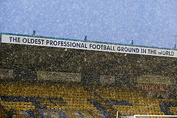 A general view of the One Call Stadium encapsulated in the snow - Mandatory by-line: Ryan Crockett/JMP - 02/01/2021 - FOOTBALL - One Call Stadium - Mansfield, England - Mansfield Town v Port Vale - Sky Bet League Two