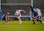 Exeter Chiefs fly-half Joe Simmonds spots a gap during a Gallagher Premiership Round 11 Rugby Union match, Friday, Feb 26, 2021, in Eccles, United Kingdom. (Steve Flynn/Image of Sport)