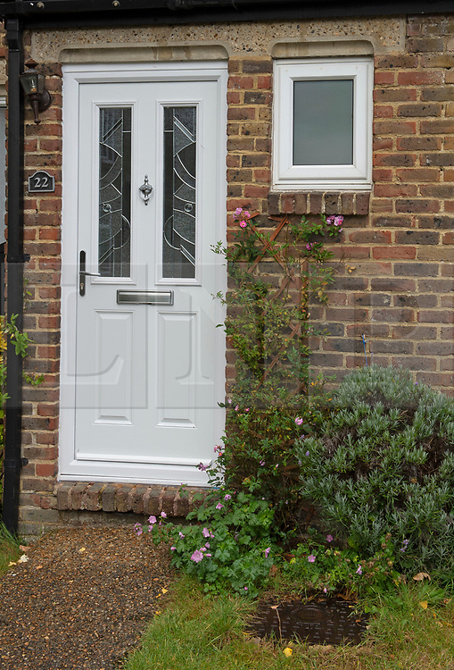 ©Licensed to London News Pictures 27/09/2019.<br /> New Ash Green ,UK. A new front door on the property. Sarah Wellgreen's house at Bazes Shaw, New Ash Green in Kent has the curtains drawn in the middle of the day and a new front door after the police forced entry last year. The mother of five has never been found, she disappeared in October 2018. Former partner Ben Lacomba (38) is due to stand trial for her murder next week. Photo credit: Grant Falvey/LNP