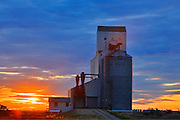 Grain elevator at sunset<br /> MooseJaw<br /> Saskatchewan<br /> Canada