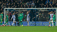 Football - 2018 / 2019 Emirates FA Cup - Fifth Round: Queens Park Rangers vs. Watford<br /> <br /> Queens Park Rangers players react after seeing an attempt at the Watford goal go just wide at Loftus Road<br /> <br /> COLORSPORT/DANIEL BEARHAM