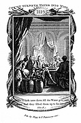 The wedding at Cana. Christ turning water into wine. 'Bible' John 2:7. Copperplate engraving 1804.