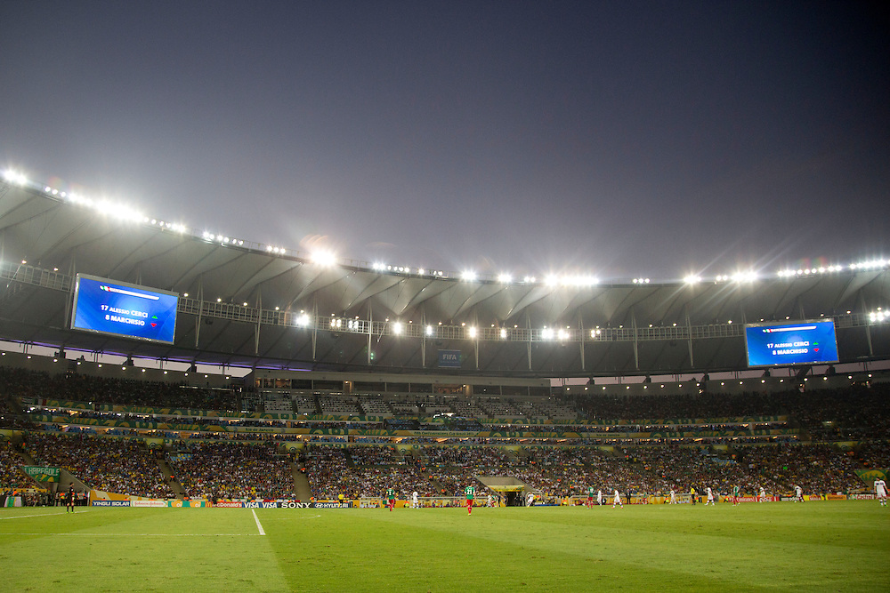 Rio De Janeiro_Rj, Brazil.<br /> <br /> Copa das Confederacoes 2013. Jogadores de Mexico e Italia disputam partida pela primeira fase da copa das confederacoes, em jogo valido do grupo A no estadio do Maracana. Italia 2x1 Mexico.<br /> <br /> The 2013 FIFA Confederations Cup. Players from Mexico and Italy played the first phase of the Confederations Cup in Group A in the Maracana stadium. Italy 2x1 Mexico.<br /> <br /> Foto: MARCUS DESIMONI / NITRO