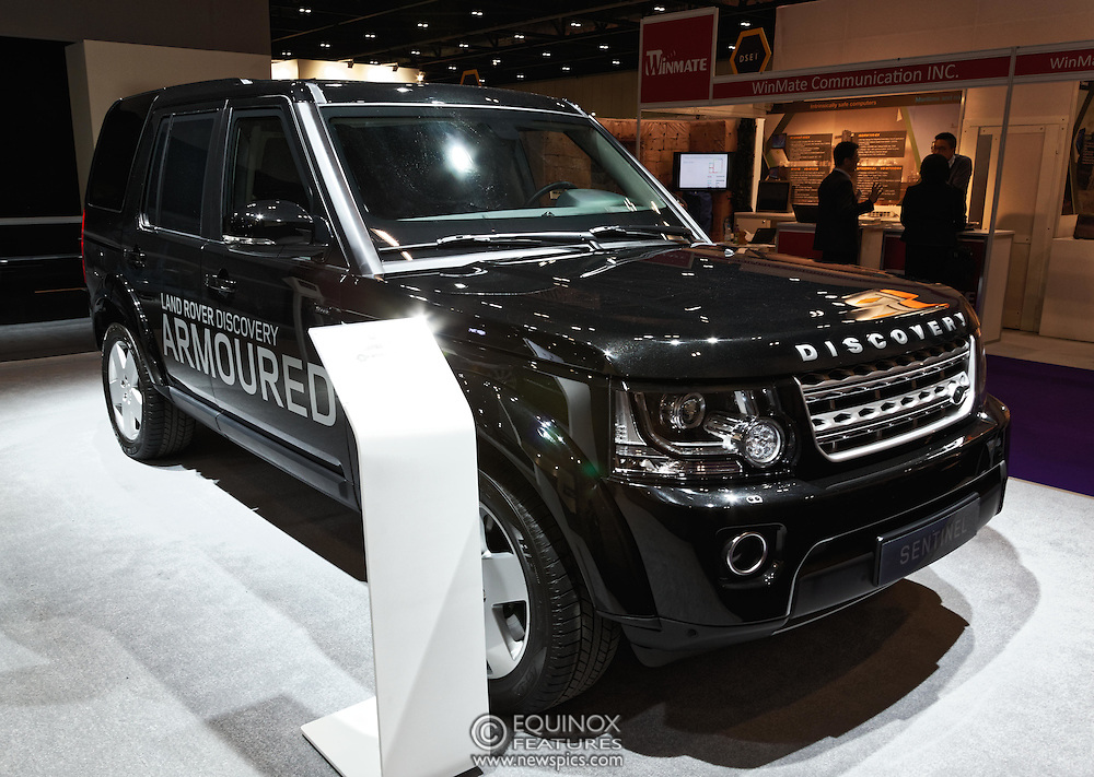 London, United Kingdom - 18 September 2015<br /> Land Rover display their new armoured vehicles, the £300,000 Range Rover Sentinel and the £160,000 Land Rover Discovery Sentinel which is set to be the new standard for UK government vehicle protection, at the defence and security exhibition DSEI at ExCeL, Woolwich, London, England, UK.<br /> (photo by: EQUINOXFEATURES.COM)<br /> <br /> Picture Data:<br /> Photographer: Equinox Features<br /> Copyright: ©2015 Equinox Licensing Ltd. +448700 780000<br /> Contact: Equinox Features<br /> Date Taken: 20150918<br /> Time Taken: 14145016<br /> www.newspics.com