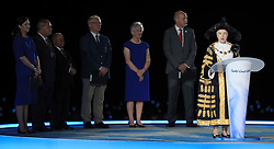 Lord Mayor of Birmingham Councillor Anne Underwood (right) speaks after the handover ceremony for Birmingham 2022 during the Closing Ceremony for the 2018 Commonwealth Games at the Carrara Stadium in the Gold Coast, Australia.