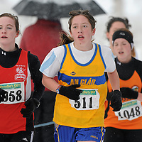 28 November 2010; Fiona Maulett, Derry, left, and Nollaig Blake, Clare, in action during the Girls U16 Woodie's DIY AAI Inter County Cross Country & Juvenile Even Ages. Grensha Grounds, Oakgrove College, Derry. Picture credit: Oliver McVeigh / SPORTSFILE *** NO REPRODUCTION FEE ***