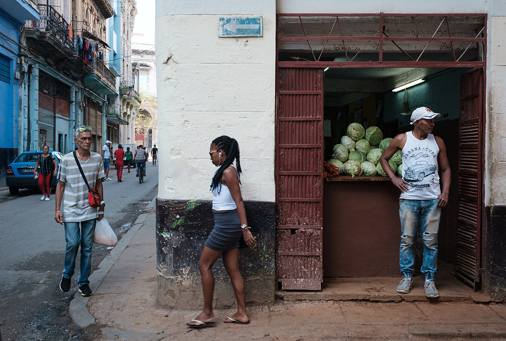 HAVANA, CUBA - CIRCA JANUARY 2020: Woman walking in the streets of Havana.