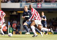 Photo: Chris Ratcliffe.<br />Southend United v Stoke City. Coca Cola Championship.<br />05/08/2006.<br />Freddy Eastwood of Southend bursts past Michael Duberry of Stoke.