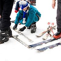 Ski lift queue, Krasnaya Poliana, Russia.