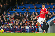 Chris Smalling of Manchester United during the Barclays Premier League match between Chelsea and Manchester United at Stamford Bridge, London, England on 7 February 2016. Photo by Phil Duncan.