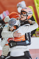 28.02.2021, Oberstdorf, GER, FIS Weltmeisterschaften Ski Nordisch, Oberstdorf 2021, Mixed Teambewerb, Skisprung HS106, im Bild Jubel Karl Geiger (GER) // Celebration of Karl Geiger of Germany during the ski jumping HS106 mixed team competition of FIS Nordic Ski World Championships 2021 in Oberstdorf, Germany on 2021/02/28. EXPA Pictures © 2021, PhotoCredit: EXPA/ JFK