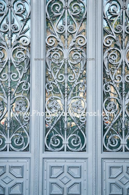 elaborate metal door frame