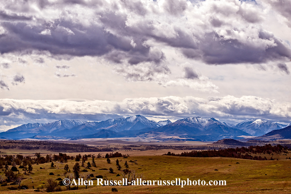 Crazy Mountains, Front Range of Rocky Mountains, storm clouds, south of Harlowton, Montana