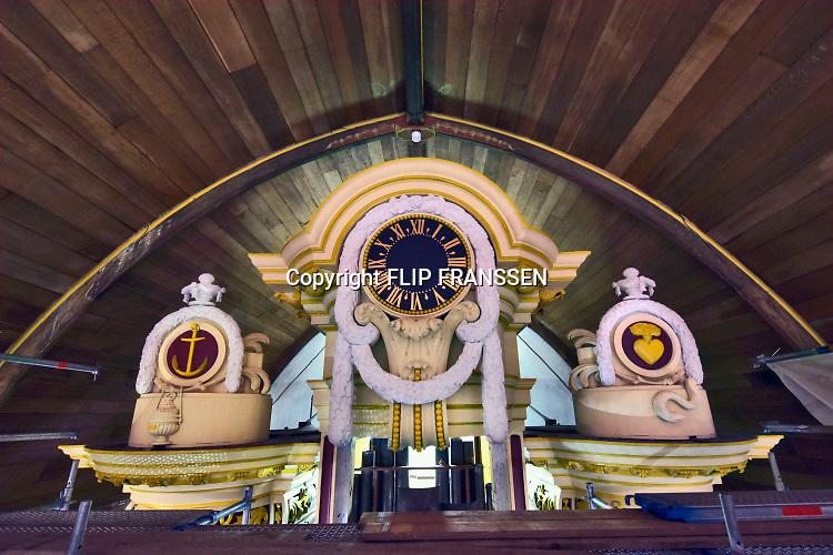 Nederland, Nijmegen, 17-4-2019Stevenskerk in het centrum van de stad.Het beroemde Konig orgel wordt momenteel geschilderd en opgeknapt. De steiger staat tot aan het plafond .Foto: Flip Franssen