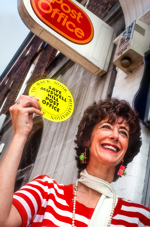 Maureen Lipman at a press conference at Muswell Hill Post Office in the 1990's. Lipman was a fierce campaigner to save Muswell Hill post office from back door privatisation.