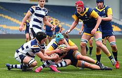Oli Thorneywork (Warwick School) of Worcester Warriors Under 18s is held up on the try line - Mandatory by-line: Robbie Stephenson/JMP - 14/01/2018 - RUGBY - Sixways Stadium - Worcester, England - Worcester Warriors Under 18s v Yorkshire Carnegie Under 18s - Premiership Rugby U18 Academy