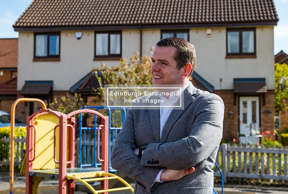 Haddington, East Lothian, Scotland, United Kingdom, 5th May 2021. Scottish election campaign: Scottish Conservative & Unionist party leader, Douglas Ross, visits in support of their candidate Craig Hoy, Conservative councillor on the last day of electioneering before polling places open tomorrow.<br /> Pictured: Douglas Ross in Gateside housing estate<br /> Sally Anderson | EdinburghElitemedia.co.uk