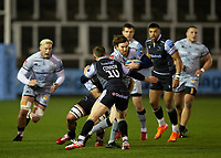Rugby Union - 2020 / 2021 Gallagher Premiership - Newcastle Falcons vs Sale - Kingston Park<br /> <br /> Simon Hammersley of Sale Sharks is tackled by Brett Connon of Newcastle Falcons<br /> <br /> COLORSPORT/BRUCE WHITE