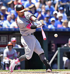 May 14, 2017 - Kansas City, MO, USA - Baltimore Orioles' Caleb Joseph connects on a line drive out to Kansas City Royals third baseman Mike Moustakas to end the top of the second inning on Sunday, May 14, 2017 at Kauffman Stadium in Kansas City, Mo. (Credit Image: © John Sleezer/TNS via ZUMA Wire)