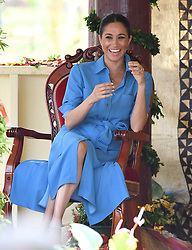 Meghan Duchess of Sussex visit Toloa Forest Reserve for The Queen's Commonwealth Canopy during their tour of the Kingdom of Tonga. Photo credit should read: Doug Peters/EMPICS