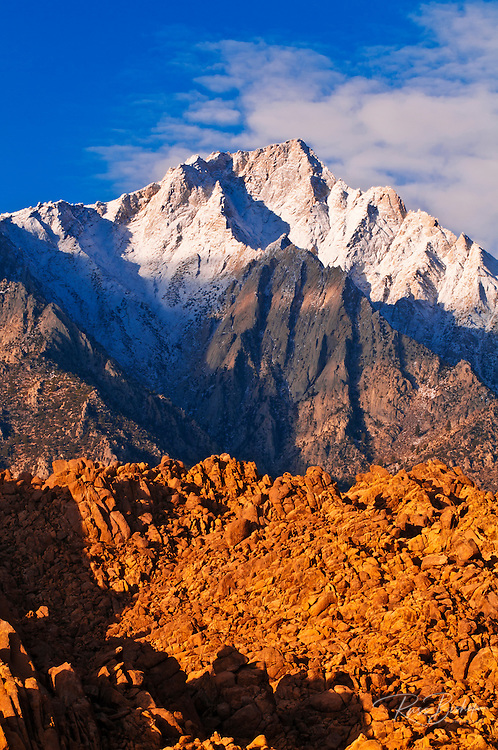 Dawn light on Lone Pine Peak from the Alabama Hills, Inyo National Forest, California USA