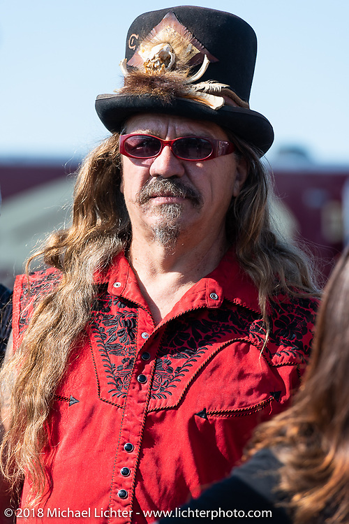 Bean're at the Aidan has a Posse fundraiser ride out from the Buffalo Chip Crossroads during the 78th annual Sturgis Motorcycle Rally. Sturgis, SD. USA. Tuesday August 7, 2018. Photography ©2018 Michael Lichter.
