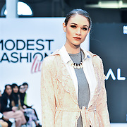 Salayfa showcases its latest collection at Modest Fashion Live at Olympia London on 14 April 2019, London, UK.