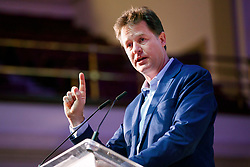 """© Licensed to London News Pictures. 13/05/2017. London, UK. Former Liberal Democrat leader NICK CLEGG speaks on the impact of Brexit in politics at """"The Convention on Brexit"""" event at Westminster Central Hall in London on Saturday, 13 May 2017. Photo credit: Tolga Akmen/LNP"""