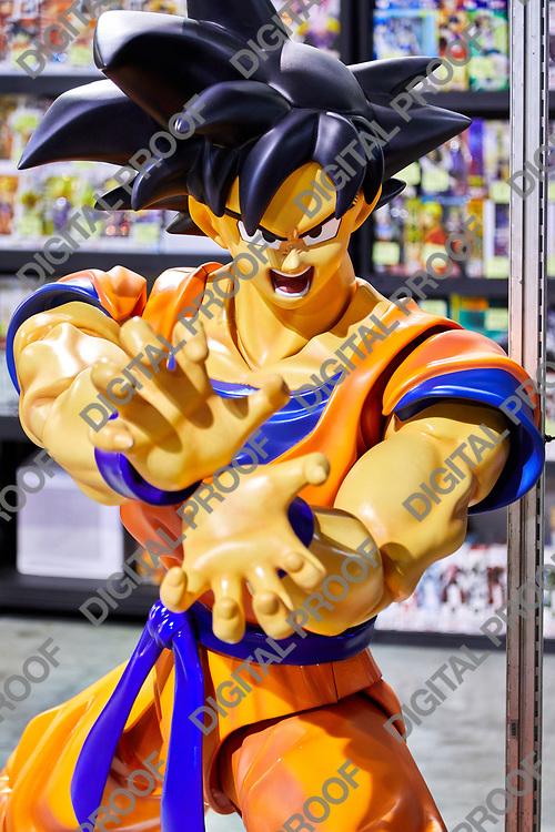 Milan, Italy - March 8 2019 Cartoomics Comic Con Dragon Ball Figure on display