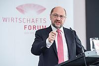 13 JUN 2017, BERLIN/GERMANY:<br /> Martin Schulz,  SPD Parteivorsitzender und Kanzlerkandidat, haelt eine Rede, Jahreskonferenz, Wirtschaftsforum der SPD, Humboldt-Box<br /> IMAGE: 20170613-01-269