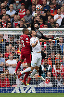Football - 2021 / 2022 Premier League - Liverpool vs Burnley - Anfield - Saturday 21st August 2021<br /> <br /> <br /> <br /> Liverpool's Alisson Becker punches the ball clear
