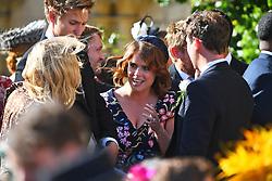 Princess Beatrice attending the wedding of singer Ellie Goulding to Caspar Jopling at York Minister.