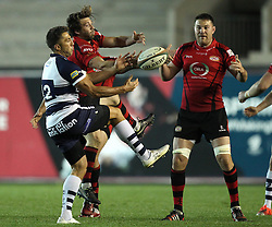 Bristol's Gavin Henson tries to catch the ball - Photo mandatory by-line: Robbie Stephenson/JMP - Mobile: 07966 386802 - 17/04/2015 - SPORT - Rugby - Bristol - Ashton Gate - Bristol Rugby v Jersey - Greene King IPA Championship