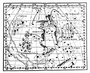Constellation of Hercules (Heracles/Herakles): part of the Milky Way is shown on right of image. From JJ Fortin 'Atlas Coelestis de Flamsteed' Paris 1775. Copperplate engraving