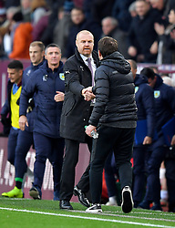 Burnley manager Sean Dyche (left) and Barnsley manager Daniel Stendel during the Emirates FA Cup, third round match at Turf Moor, Burnley.