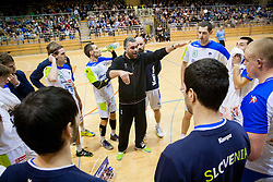 Boris Denic, head coach with players of Slovenia during friendly handball match between National Teams of Slovenia and F.Y.R. of Macedonia on December 28, 2013 in Sports hall Polaj, Trbovlje, Slovenia. Photo by Vid Ponikvar / Sportida