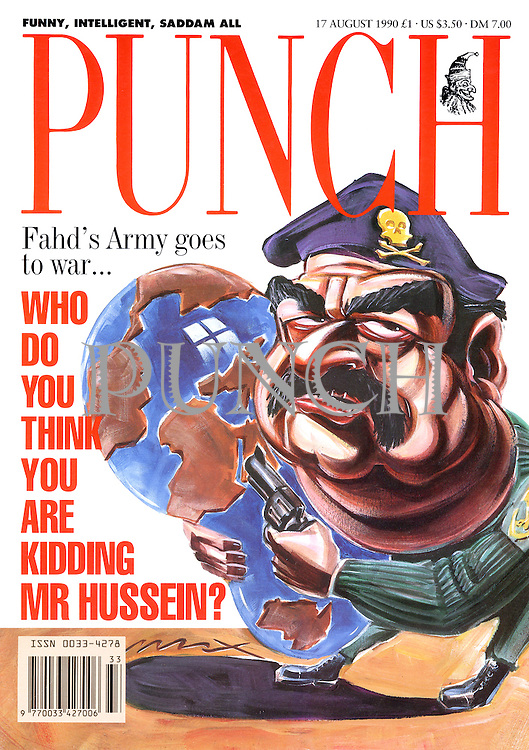Punch (Saddam Hussein squeezing the world. Front cover, 17 August 1990)
