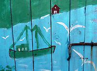 a blue painted boat house in Hoddevika, Stadt - Blåmalt naust